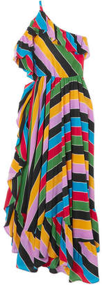 Philosophy di Lorenzo Serafini One-shoulder Ruffled Striped Silk-satin Dress - Green