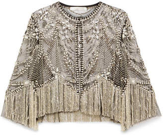 Naeem Khan Fringed Embellished Tulle Jacket - Silver