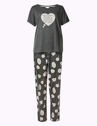 Marks and Spencer Cotton Rich Snooze Print Pyjama Set