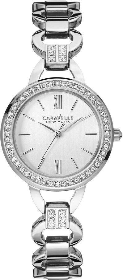 CARAVELLE, NEW YORK Caravelle New York Womens Crystal-Accent Open Link Bracelet Watch 43L180