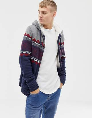 Hollister fairisle chest stripe hooded cardigan fleece lined in navy