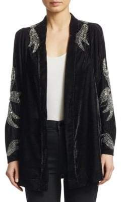 Dodo Bar Or Corrine Embellished Velvet Cardigan