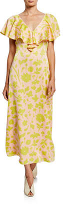 Kate Spade Splash Floral V-Neck Cross-Back Short-Sleeve Satin Midi Dress