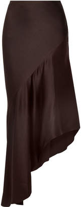Haider Ackermann Asymmetric Satin-crepe Midi Skirt - Brown