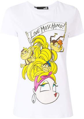Love Moschino cartoon logo print T-shirt