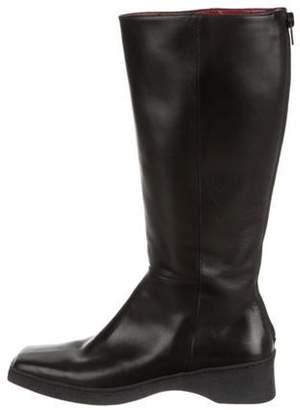 Salvatore Ferragamo Leather Mid-Calf Boots Black Leather Mid-Calf Boots