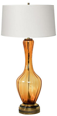 One Kings Lane Vintage Amber Blown Glass Lamp - Janney's Collection