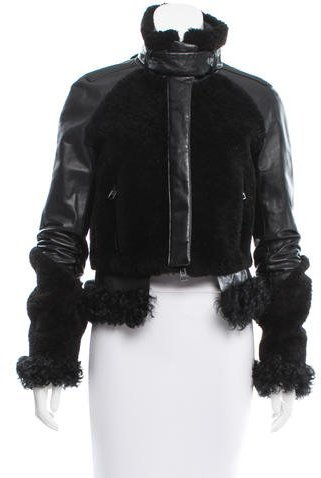 Givenchy Givenchy Shearling & Leather Fitted Jacket