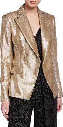 Jonathan Simkhai Distressed Sequined Double-Breasted Blazer