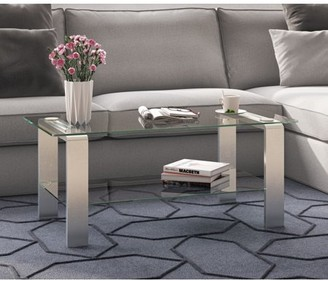 Asta Hudson&Canal Metal & Glass Coffee Table in Silver Nickel Finish