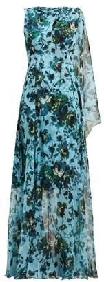Erdem Kassidy Floral Print Silk Chiffon Gown - Womens - Blue Multi
