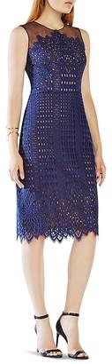 BCBGMAXAZRIA Lace & Illusion Mesh Dress $368 thestylecure.com