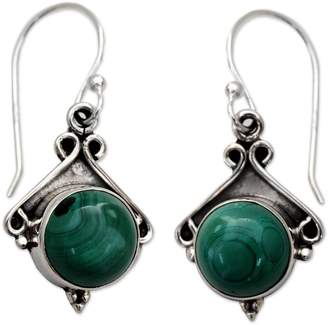 Novica Artisan Crafted Sterling Malachite Earrings
