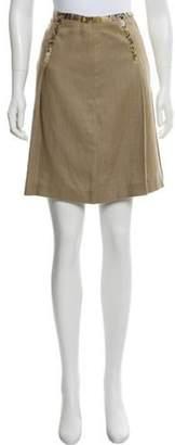 Michael Kors Linen Knee-Length Skirt Tan Linen Knee-Length Skirt