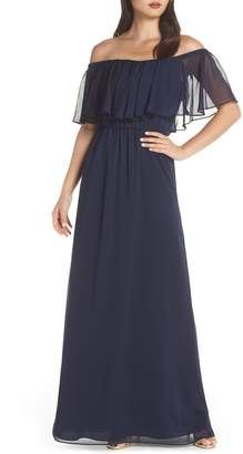 WAYF Off the Shoulder Ruffle Popover Gown