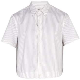 Raf Simons Cropped Striped Cotton Poplin Shirt - Mens - White