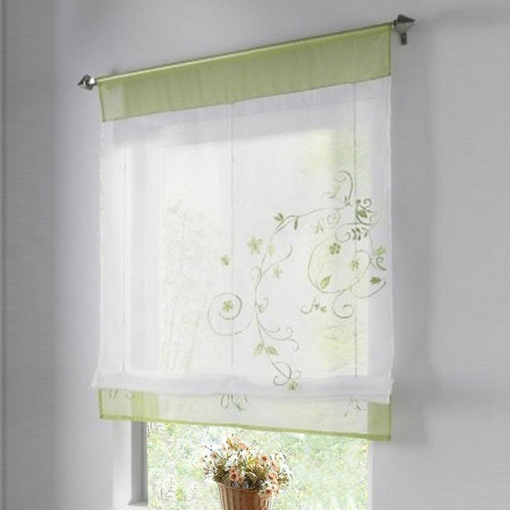 Thinkbay 1pcs Sheer Liftable Organza Embroidered Kitchen Curtains Roman Window Shades