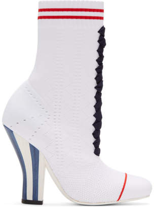 Fendi White Stretch Sock Boots