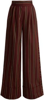 Palmer Harding PALMER/HARDING Striped cotton-twill wide-leg trousers