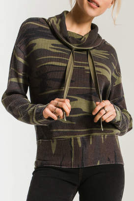 Z Supply Camo Cowl Neck Waffle Thermal