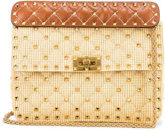 Valentino Rockstud Spike Medium Shoulder Bag in Natural & Tan | FWRD