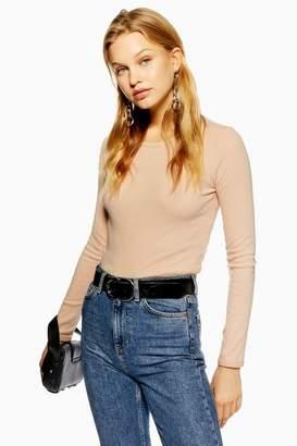 Topshop Womens Long Sleeve Scallop T-Shirt