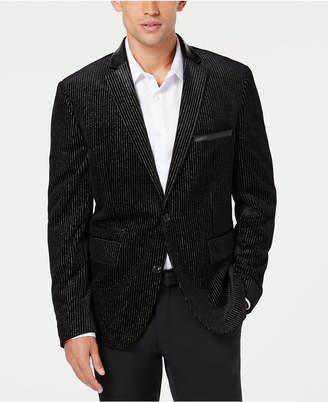 INC International Concepts I.n.c. Men Slim Velvet Metallic Striped Blazer