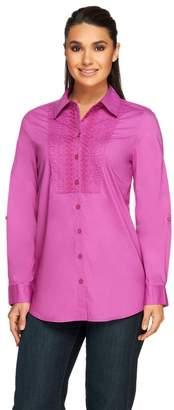Denim & Co. Button Front Tunic Top w/ Lace Bib Detail