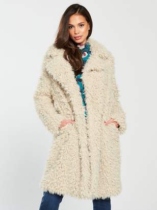 Vero Moda Tamar Faux Fur Long Coat - Oatmeal