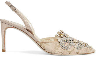 Rene Caovilla Veneziana Embellished Lace And Satin Slingback Pumps - Beige
