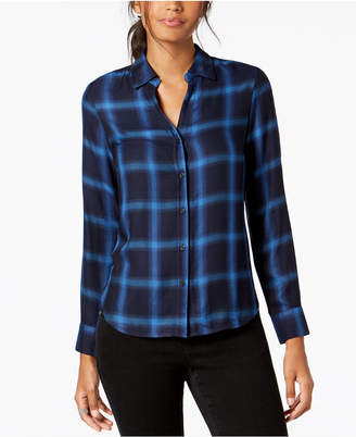 INC International Concepts I.N.C. Plaid Button-Front Shirt, Created for Macy's