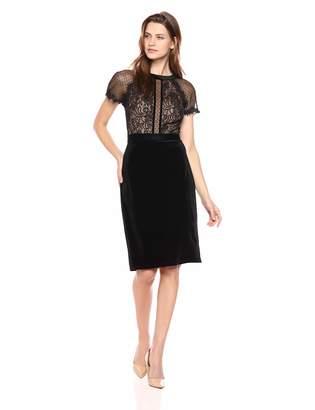 Tadashi Shoji Women's s/s lace/Velvet Dress, Black/Nude