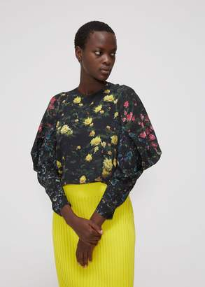 Anntian Butterfly Sleeve Cropped Blouse