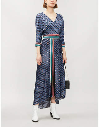Maje Reanne printed crepe dress