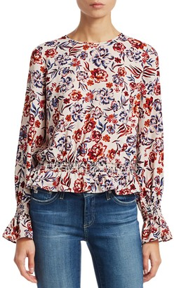 Scripted Floral Bell-Sleeve Blouse