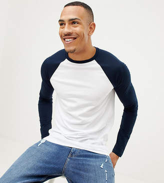 Asos DESIGN Tall long sleeve t-shirt with crew neck with contrast raglan sleeves
