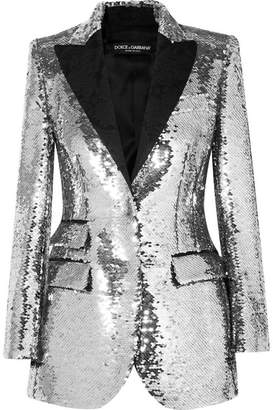 Dolce & Gabbana - Sequined Crepe Blazer - Silver