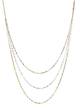 "Bloomingdale's 14K Yellow, White, and Rose Gold Three Strand Flat Link Chain Necklace, 28"" - 100% Exclusive"