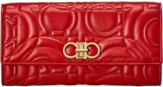 Salvatore Ferragamo Gancini Quilted Leather Continental Wallet