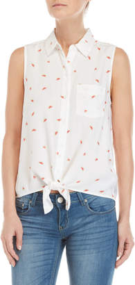 Beach Lunch Lounge Printed Tie-Front Sleeveless Shirt