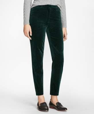 Brooks Brothers Slim-Fit Paisley-Print Velvet Pants