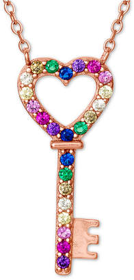 bd6d80b695 Giani Bernini Cubic Zirconia Rainbow Heart Key Pendant Necklace in 18k Rose  Gold-Plated Sterling