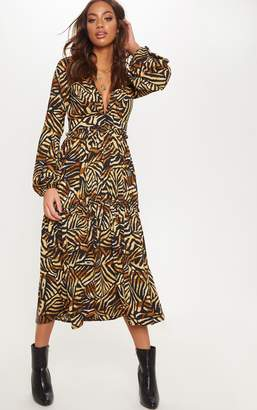 PrettyLittleThing Tan Tiger Print Frill Detail Midaxi Dress