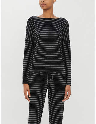 Beyond Yoga Stripy stretch-knit jumper