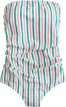 0d85c2bf2d7ae J.Crew Puckered Stripe Ruched Bandeau One-Piece Swimsuit