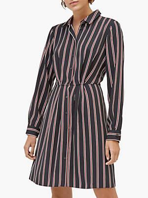 Warehouse Honey Stripe Shirt Dress, Black Stripe
