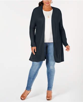 Belldini Plus Size Pointelle Duster Cardigan