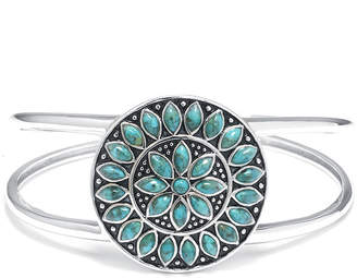 FINE JEWELRY Enhanced Turquoise Sterling Silver Medallion Cuff Bracelet