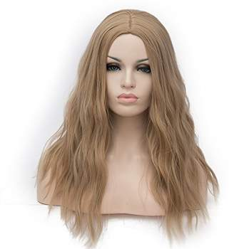 Medium Length Cosplay Lolita Halloween Wig for Women Curly Wave Ombre Wigs Hair +Wig Cap/Light Brown F1