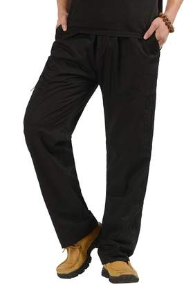 CardanWolf Men's Big and Tall Relaxed Cotton Full Elastic Waist Cargo Pants Baggy Trousers 4XL
